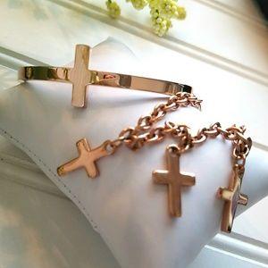 Jewelry - Set 2 Rose Gold Stainless Steel Cross Bracelets